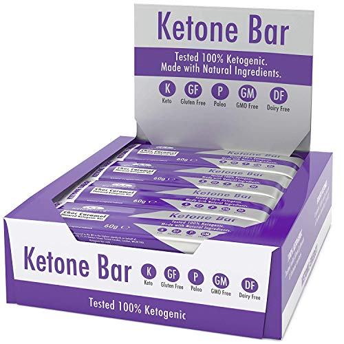Ketone Bars (12 X 60g)   Keto Bars with All Natural Ingredients   Zero Sugar   100% Ketogenic   Only 3.1 Net Carbs per Bar   Paleo Friendly   Gluten & Dairy Free   Choc Caramel Flavour   Ketosource®