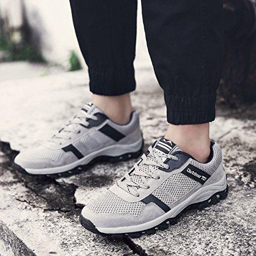 Herren Modische Wanderschuhe Leichtgewicht Atmungsaktiv Anti-Rutsch Low-Top Sneakers Grau