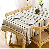 J-MOOSE Tovaglia in Cotone e Lino Striscia Colorata Anti-Macchia Tovaglia per Tavolo Rettangolare Decorazione Domestica della Cucina (130x220cm, Colored Stripes)