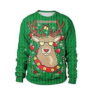 Damen Weihnachtspullover Rundhals Langarm Lustig Christmas Sweater 3D Elch Drucken Sweatshirt Neuheit Grün Top