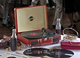 Zennox Portable Retro Style Briefcase USB Enabled Record Player Vinyl Turntable Deck with Built in Stereo Speakers (Red)