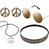 Hicarer Conjunto de Disfraces de Hippie Incluye Gafas de Sol, Diadema, Collar de Signo de Paz y Pendientes (Marrón Bohemio)