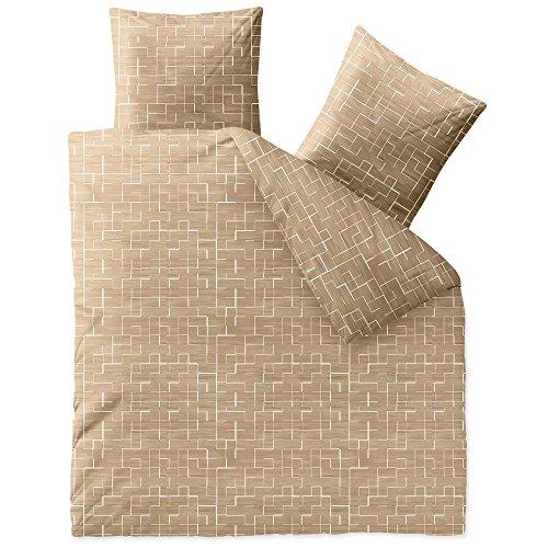 Flauschig weiche Winter-Bettwäsche | verschiedene Größen | Baumwolle Biber 200 x 200 cm | CelinaTex 5001054 | Touchme Mieke | gemustert beige weiß