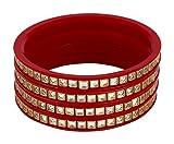 Best Bracelets For 4 - Radhe Maroon and Gold Acrylic Kundan Bangle Set Review