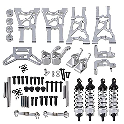 Mxfans Silver Aluminum Alloy Upgrade Parts Servo Linkages Suspension Arm Shock Absorber Hub Carrier for HPI WR8 FLUX RC1:10 Rally Car Set of 21