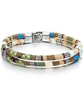 Zwei Strang Beige Grün Tribal Tibetische Handarbeit Baumwolle Armband für Herren Jungen Damen Wickeln Schweißband