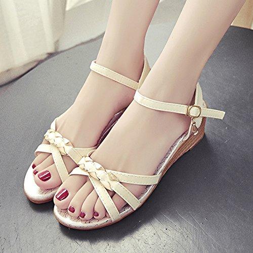 RUGAI-UE Sandali donna estate piatto scarpe Bohemibeach Slip Beige