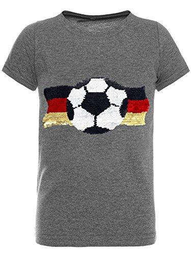 BEZLIT Deutschland Jungen Kinder Wende Pailletten Fussball WM 2018 Fan T Shirt 22513, Farbe:Dunkelgrau, Größe:104 (Jungen-sale)