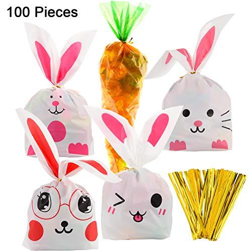 Jetec 100 Stück Ostern Cellophan Karottenförmigen Taschen und Bunny Goody Bag Candy Geschenk Verpackung Taschen mit 100 Stück Twist Krawatten für Party Favors Lieferungen (Farbe Satz B)