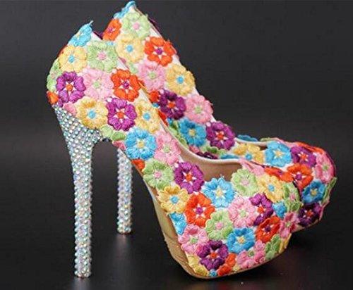 Si& TOU Shui Drill/Ultra hohe wasserdicht/Stickerei Farbe Blumen/Hochzeit Kleider/Schuhe 14cm