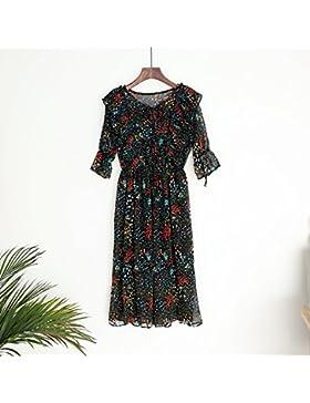 Verano estilo coreano chiffon florales mullidas volantes faldas,un tamaño, negro