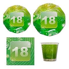 Idea Regalo - SET 50 PZ - Kit SET Festa coordinato tavola 18 ANNI verde - Ideale per 10 Ospiti - addobbo decoro tavola del neo maggiorenne - ideale per festeggiare il diciottesimo compleanno - idee e gadget