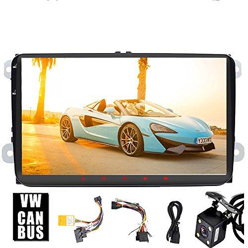 Pour Volkswagen 22,9 cm HD Head Unit Android 8.1 Quad-Core Navigation GPS de voiture radio stéréo Bluetooth FM AM RDS écran Link DAB + auxiliaire SWC Wifi pour Bora Jetta Tiguan Golf Polo