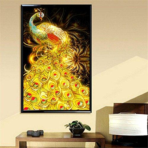 Bazaar 50x75cm Golden Peacock DIY Diamant-Malerei Strass Kreuzstich Kit -