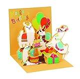 Pop UP 3D Karte Geburtstag Mini Grußkarte Lamas im Zirkus 7,6x7,6cm
