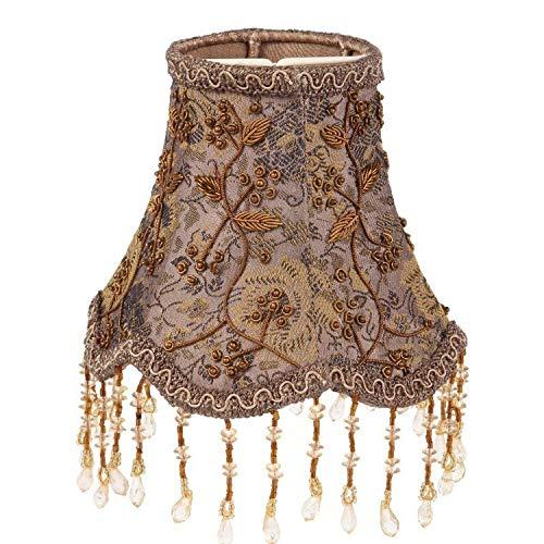 Baroque Collection Hochwertiger Lampenschirm mit Clips 14 cm aus Stoff Maße 13 x 14 x 14 Braune Mischung - Perlen-baumwoll-mischung