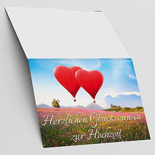 A4 XXL Hochzeitskarte HERZ-BALLONS mit Umschlag – edle Glückwunschkarte zum Aufklappen mit romantischem Motiv zur Hochzeit – Maxikarte von BREITENWERK