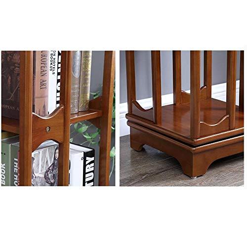 MTX Ltd 4-Stufiges Bücherregal, Drehbares Bücherregal, 100% Holz, 360-Fach Rotierendes Organizer-Schrankgestell, für bis zu 300 DVDs Oder Bücher, Drehendes Design, Sehr Robust, Walnut -