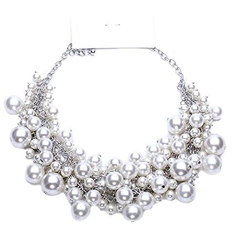 Femme Alliage Rétro Collier Mode Exagérée Incrustées De Perles Courte Section Chaîne De La Clavicule,White-L