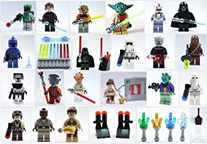 lego star wars 24 figuren und zubeh r yoda vader boba fett commander und weitere waffen. Black Bedroom Furniture Sets. Home Design Ideas
