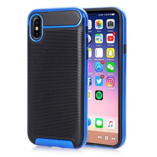 iPhone X Armor Cover, Horizontale Linien Carbon Fiber Texture HYbrid Bumper Frame Thin Custodia, TAITOU New Cool Ultralight Slim Soft Protect Phone Cover For iPhone X RoseGold BBlue