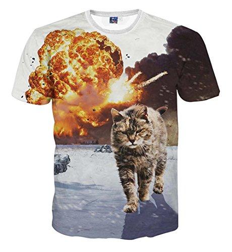 YonBii 3D Lion Druck Lustige T-Shirt Mode Kurzarm Frauen Männer Hiphop Bluse Top Geschenk (Print T-shirt Lion)
