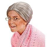Amakando Oma Perücke Kinder Großmutter Haare grau, mit Dutt Alte Frau Haarperücke Strenge Lehrerin Damenperücke Grandma Faschingsperücke Granny Karnevalsperücke