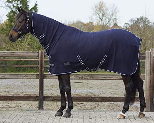 QHP Fleecedecke Abschwitzdecke Basic mit Halsteil Kreuzgurte blau + schwarz (135 cm, Blau)