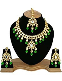 Finekraft Meena Kundan Fancy Designer Gold Plated Necklace Jewelry Set For Girls