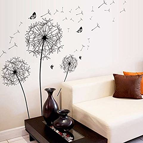 Wandtattoo Pusteblume Schmetterling Löwenzahn Wandaufkleber Wohnzimmer Schlafzimmer Wohnraum Wandsticker Pflanzen zum Kleben Blumen Pflanzenmotiv Sticker Natur Wanddeko