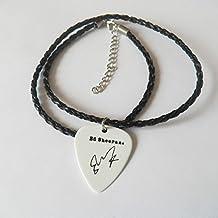 """Ed Sheeran Christopher púa de guitarra firma oro con sello 20""""collar de cuero"""