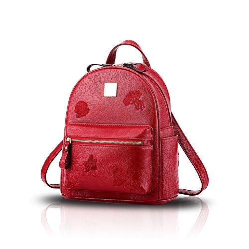Sunas nuova marea dello zaino di corsa del studente di stampa dell'unità di elaborazione di modo del sacchetto di spalla del sacchetto femminile vino rosso