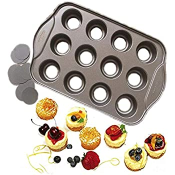 Gr8 Home Deluxe 12 Mini Cheesecake Cup Cake Tray Non Stick Muffin Cupcake Mould Pan Baking Bake Tin Kitchen Cookware Bakeware
