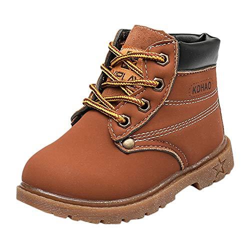 Beikoard_Babykleidung Plus Baumwolle gepolsterte Booties mit britischen Wind Stiefel Schneeschuhe Schuhe Sneaker Kinder Baby Freizeitschuhe (Braun, CN:26/EU:25)