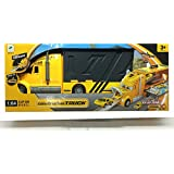 HALO NATION Transporter Off Loader Mack Truck Track Play Set With 2 Metal Cars And 1 Helicopter With Slopes And Handle For Carrying - Yellow