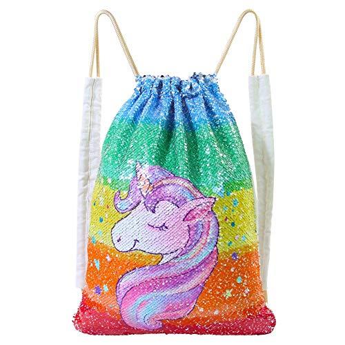 DRESHOW 1 Pack Einhorn Pailletten Kordelzug Rucksack Meerjungfrau Pailletten Tasche Magie Reversible Glitzernde Tasche Einhorn Geschenk für Mädchen Junge