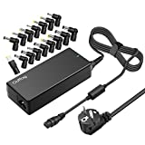 Outtag Adaptateur 90W Universel Chargeur Alimentation pour Ordinateur Portable 6-Voltage Automatique 15/16/18.5/19/19.5/20V Multiple fiches pour Acer ASUS HP LG Dell Samsung Delta Lenovo Sony Toshiba