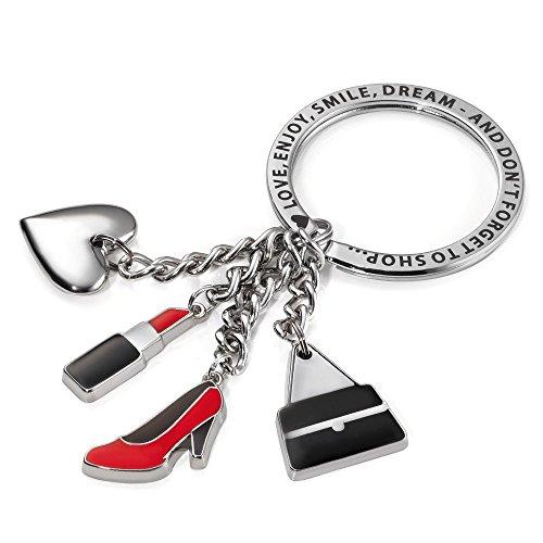 "TROIKA Schlüsselanhänger ,,she loves it\"" - Shopping 4 Charms: Herz, Highheel, Handtasche, Lippenstift - Metall / Emaille - KR12-06/CH"