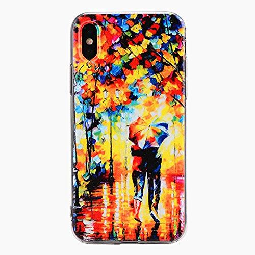 iPhone x Handyhülle,Dewanxin 2018 Neu Literarischer Wind Malerei Ölgemälde Telefon-Kasten Protective Case Cover (iPhone x Handyhülle, A) (Fall Vuitton Louis Samsung)