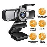 LarmTek HD Webcam 1080p met statief, PC Laptop Camera met Privacy Shutter,Webcam met Microfoon, Breedbeeld Video Oproepen en Opname Ondersteuning voor Conferentie