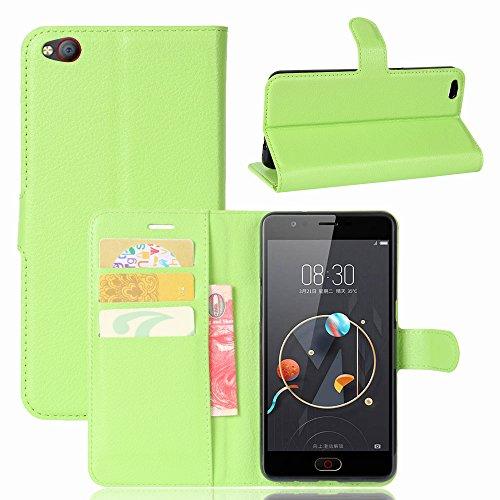 ZTE/Nubia N2 Handyhülle Book Case ZTE/Nubia N2 Hülle Klapphülle Tasche im Retro Wallet Design mit Praktischer Aufstellfunktion - Etui Grün