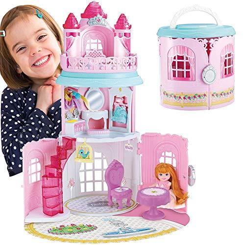 BAKAJI Borsetta Playset Castello delle Meraviglie 3 Piani Giocattolo Bambini con Bambola e Accessori Gioco Altezza 49