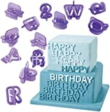 Dimart 40 Pcs Alphabets Letters Fondant Cookie Mold Cutter with Handle Fondant Craft DIY, Purple