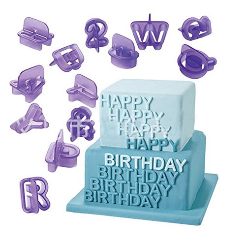 Dimart 40 Pcs Alphabets Letters Fondant Cookie Mold Cutter with Handle Fondant Craft DIY, Purple -
