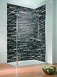 Schulte lot de 2 panneaux muraux Décodesign Décor + 3 profilés, revêtement mural 3D pour douche et salle de bains, parement ardoise, 100x210 cm