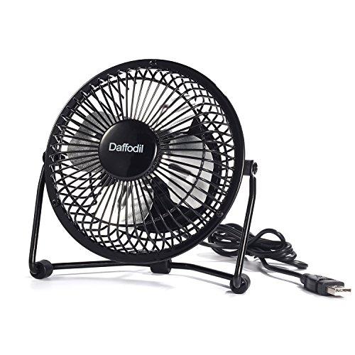 Ventilatore usb da scrivania portatile - daffodil ufn100 - mini ventilatore esterno per pc silenzioso con supporto regolabile per ufficio, open office, comodino, camera da letto - 4 '' (10 cm) - nero