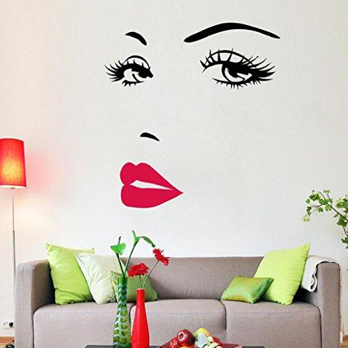 DIY Hermosa Cara Ojos Y Labios Pared Arte Etiqueta Pintura HabitacióN DecoracióN Del Hogar