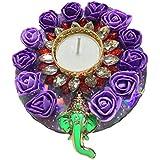 PN Purple Flower Decorative Shri Ganesh Diwali Thali With Diwali Candle