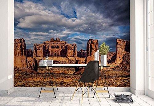 Mesa Wallpaper (Vlies Fototapete Fotomural - Wandbild - Tapete - Sandstein-Ruinen Formationen - Thema Berge - XL - 368cm x 254cm (BxH) - 4 Teilig - Gedrückt auf 130gsm Vlies - 1X-379097V8)