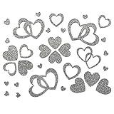 100 Stück Herzen Sticker in Rot, Gold oder Silber - Glitter Glitzernde Herzen (Silber)